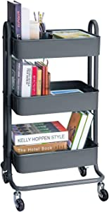 3-Tier Metal Rolling Utility Cart Heavy Duty Mobile Storage Organizer Craft Cart, Dark Gray