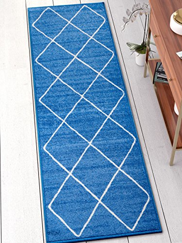 Well Woven KC-124-2 Kings Court Clover Modern Blue Geometric Trellis 2' x 7' Runner Indoor/Outdoor Area ()