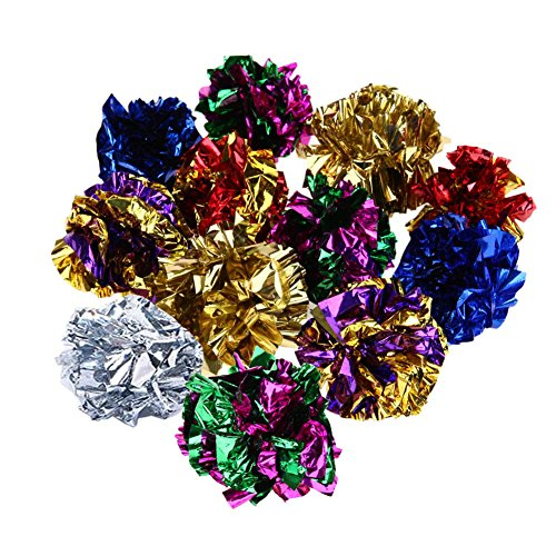 Rumfo Original Mylar Crinkle Balls Cat Toys Ring Paper Dog Toy Interactive Sound Ring Paper Kitten Playing Balls For Dogs - 12 Pack
