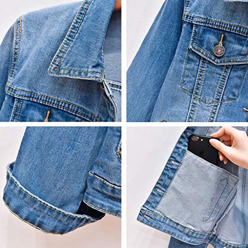 Cappotto Denim Maniche Corte Blu Scuro Donna Corto In Per Nz A colore Azzurro Xs Dimensioni AXwpd
