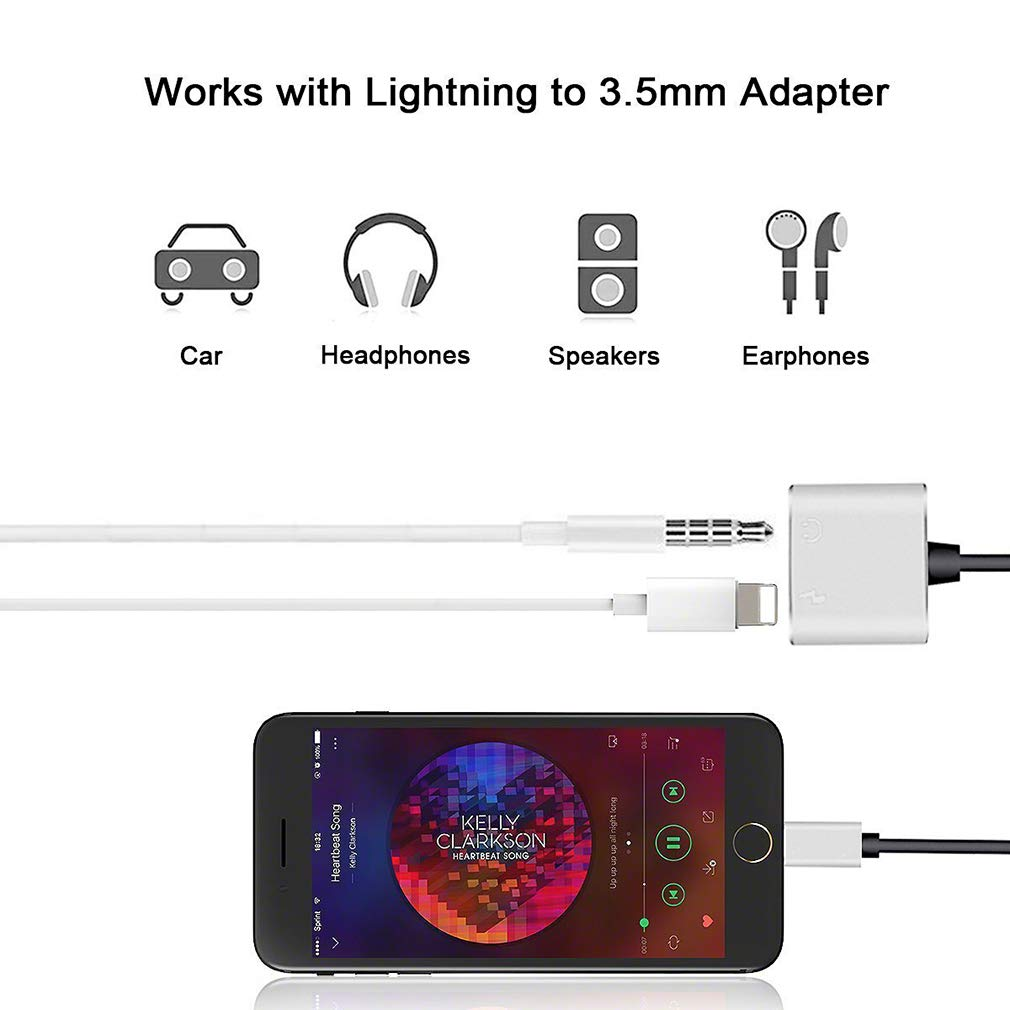 Headphone Jack Adapter Dongle for iPhone Xs//Xs Max//XR// 8//8 Plus//X // 7//7 Plus Adapter to 3.5mm Jack Converter Car Charge Accessories Cables /& Audio Connector 2 in 1 Earphone Splitter Adaptor /… 10