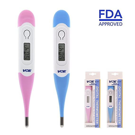 VCE 2-Pack Digital Medical Thermometer Fast 15 Seconds Reading for Oral, Rectal and