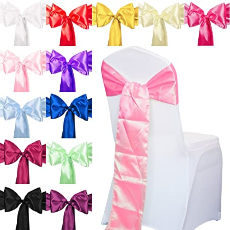 TtS 10pcs Satin Chair Cover Sashes Bow Tie Ribbon Table Runner Wedding  Reception Decoration - Pink  Amazon.co.uk  Kitchen   Home a37b92c1f461