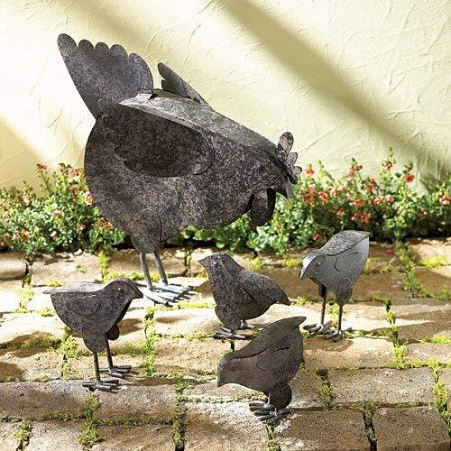 Mother Hen & Chicks Garden Sculpture Set