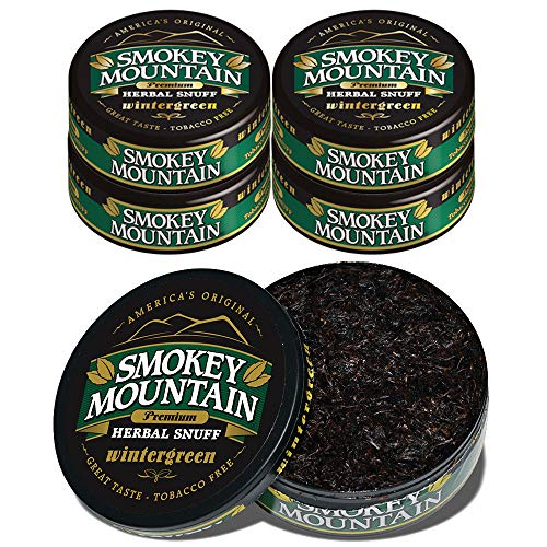Smokey Mountain Wintergreen Snuff, 5 Cans, no Tobacco and no Nicotine, Refreshing Herbal and Smokeless Chew Alternative