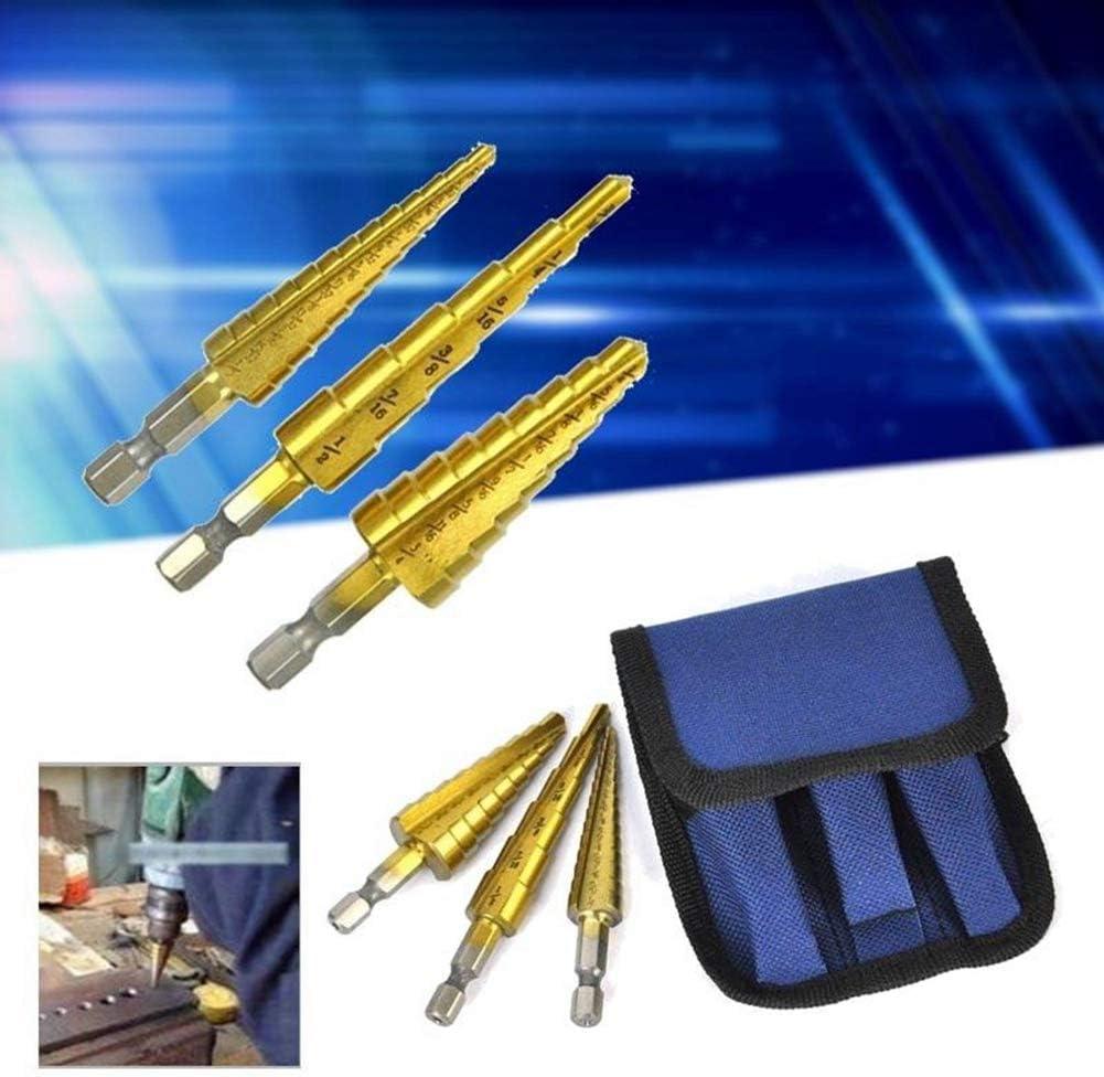 3pcs Step Drill Bit Set Titanium Cone Hole Cutter HSS High Speed Tool Pouch