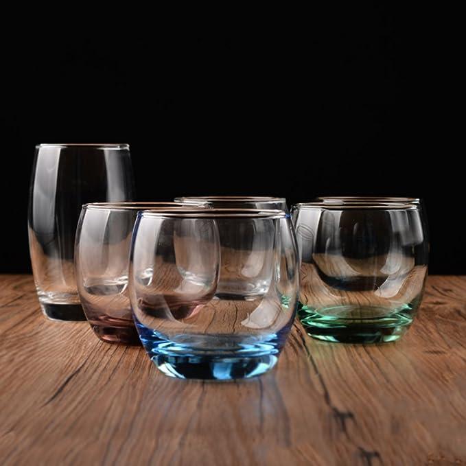 Tazas de vidrio mousse de helado tazas de leche taza de bebidas transparentes de vidrio zumo de cerveza wiskey tubo 5 colores-azul 320ml: Amazon.es: Hogar