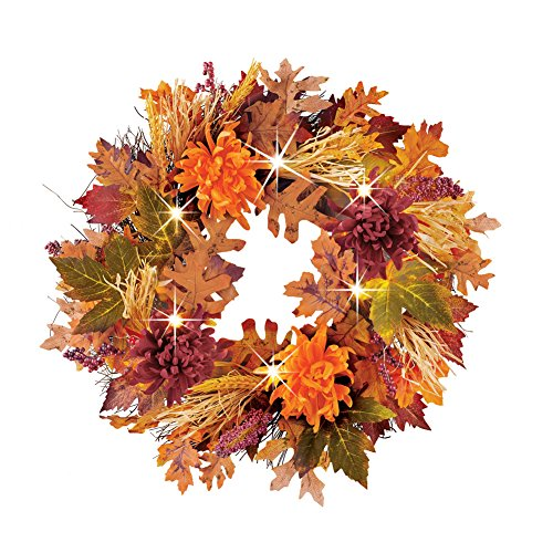 Collections Etc Mums, Leaves and Wheat Floral Lighted Fall Wreath for Front Door or Indoor, Artificial, Green, Orange, Yellow, Purple and Brown Accents -