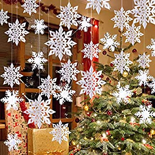 Winter Christmas Hanging Snowflake Decorations - 12PCS Snowflakes Garland & 12PCS 3D Glittery Large White Snowflake for Christmas Winter Wonderland Holiday New Year Party Home Decorations