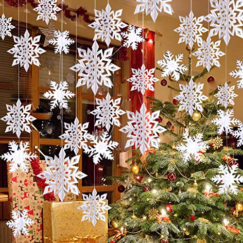 Winter Christmas Hanging Snowflake Decorations – 12PCS Snowflakes Garland & 12PCS 3D Glittery Large White Snowflake for…
