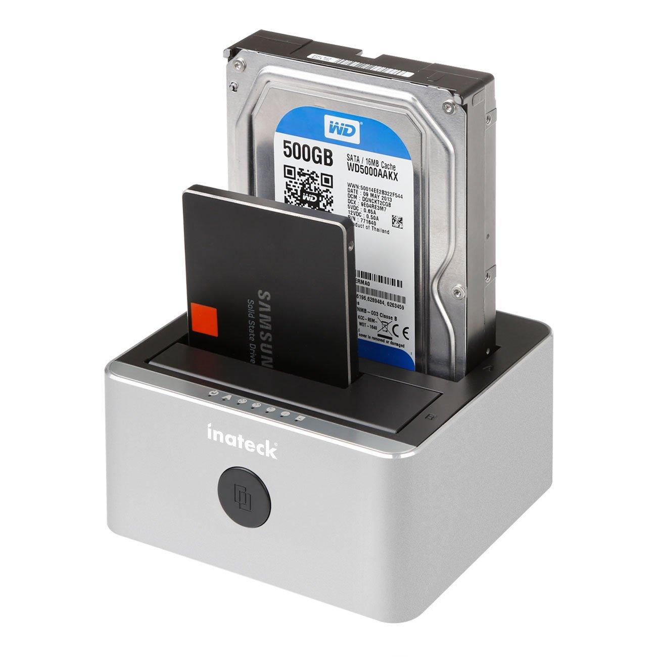 Soporta 2X 6TB /& UASP Inateck Aluminio USB 3.0 a SATA 2-Bay USB 3.0 Docking Station Bases de conexi/ón Clon Offline para Discos Duros de 2,5 y 3,5 HDD SSD SATA I//II//III sin Herramientas