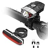 HODGSON USB Rechargeable Bike Light set, Super Bright Bike Front Light and LED Bike Tail Light set, Splash-proof and Easy to Install & Remove for Safe Cycling