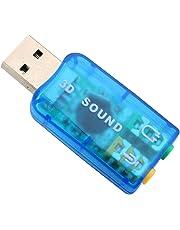 Adaptador de Audio USB Externo, USB 2.0 Audio de 5.1 Canales Adaptador de Tarjeta de Sonido para PC Adaptador de Auriculares USB