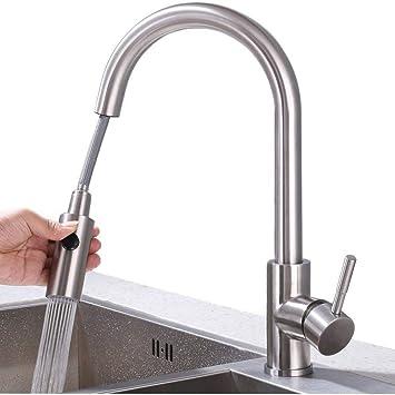 GroBartig HOMELODY Wasserhahn Küche Ausziehbar Küchenarmatur Mit Brause  Spültischarmatur Edelstahl Mischbatterie Armatur Küche, Matt