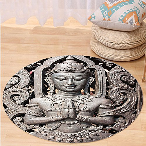VROSELV Custom carpetBuddha Decor Collection Antique Buddha in Traditional Thai Art with Swirling Floral Patterns Carving Japanese Decor Bedroom Living Room Dorm Bronze Round 72 inches by VROSELV