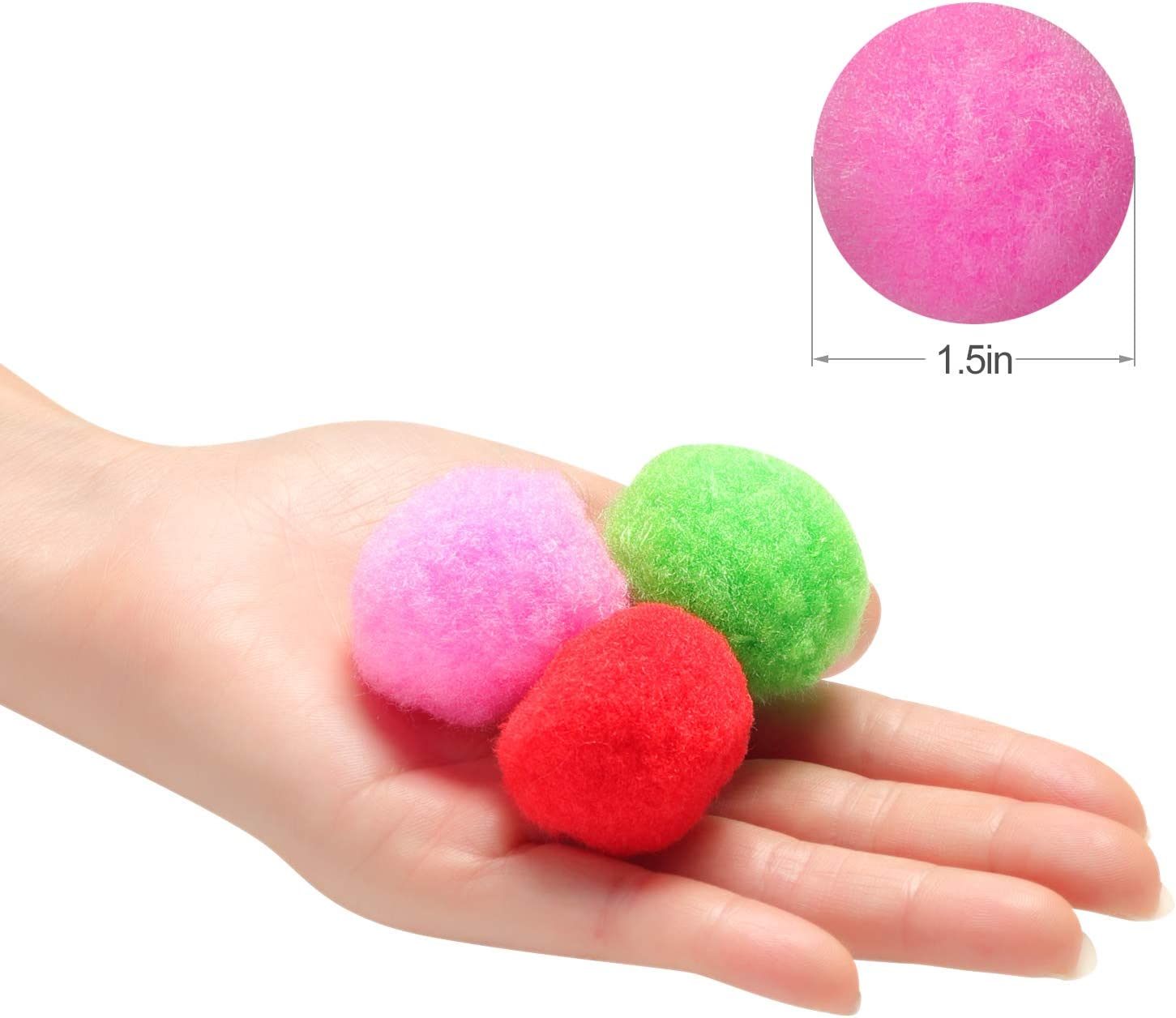 1.5 Inch Assorted Pom Poms for DIY Creative Crafts Decorations, Assorted Colors (100 Pack): Arts, Crafts & Sewing