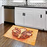 Home Décor Rug Grungy Lily Retro Renaissance Spirit Element Victory Holy Artwork for Living Room, Bedroom, and Dining Room W34''xH21''