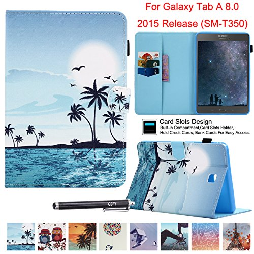 Galaxy Tab A 8.0 Case, SM-T350 Case, Newshine PU Leather Multi-Angle Folio Stand Case with [Stylus Holder] for Samsung Galaxy Tab A 8.0'' 2015 Release (Auto Wake/Sleep) - Sea & Coco Tree