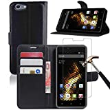 BLU Energy X2 Leather Wallet Case + Screen Protector, Gzerma Lightweight PU Leather Stand View Feature with Card Slots Cover and Bubble Free Protective Film for BLU Energy X 2 (Black)