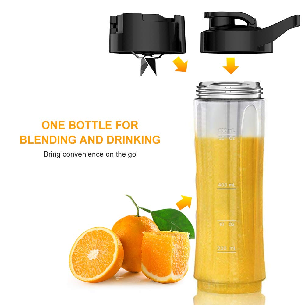 Personal Blender for Shakes and Smoothies - Powerful Drink Mixer with 20 Oz To Go Bottle, Single Use Juicer with Easy One Touch Operation, Great for Sports, Travel, Gym and Office (with Silicone Ice Cube Tray & Bottle Brush) by Gloridea (Image #4)