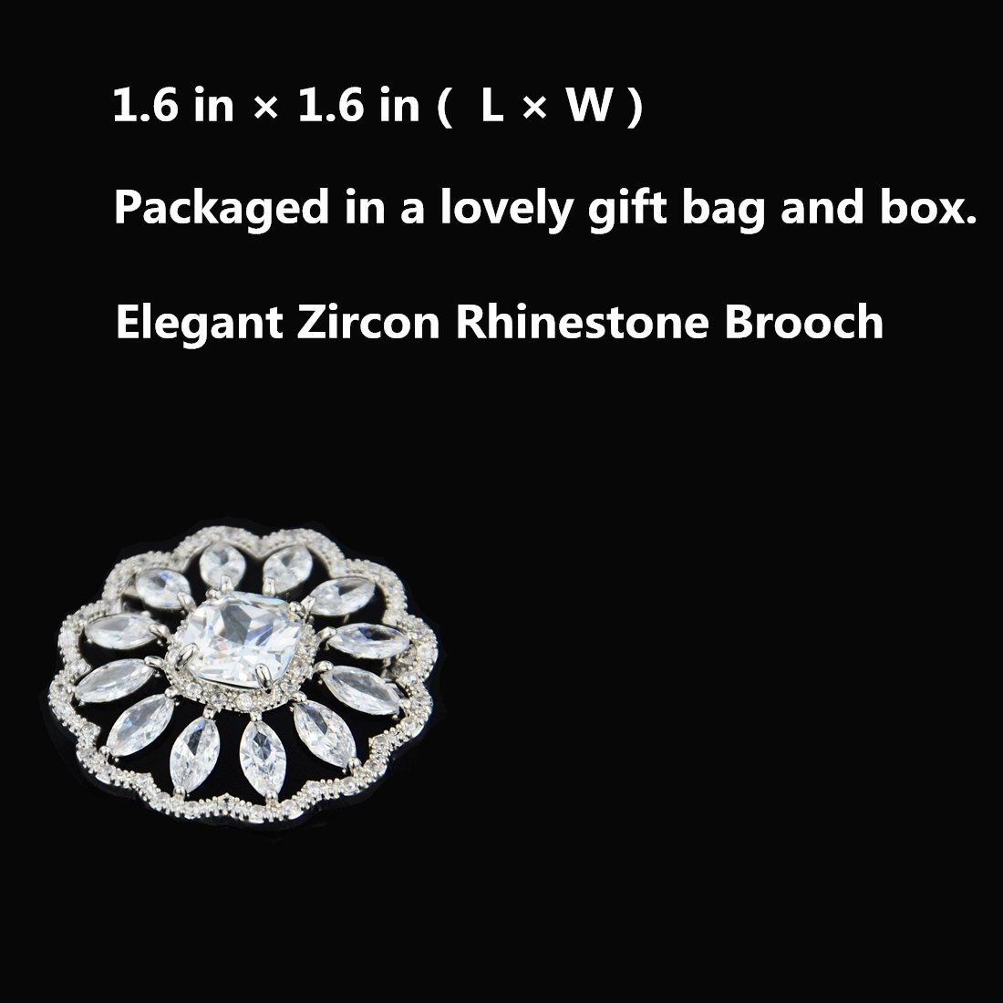 SHINYTIME Rhinestone Brooch Pin Crystal Fashion Clear Pins Women Wedding Brooches Silver Jewelry with Box by SHINYTIME (Image #4)