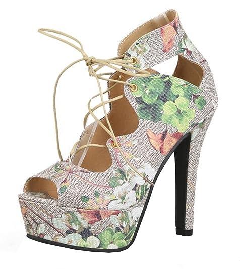 ff7fdf297b4a3d SHOWHOW Damen Sexy Plateau Peep Toe Blumen Schnürung High Heels ...