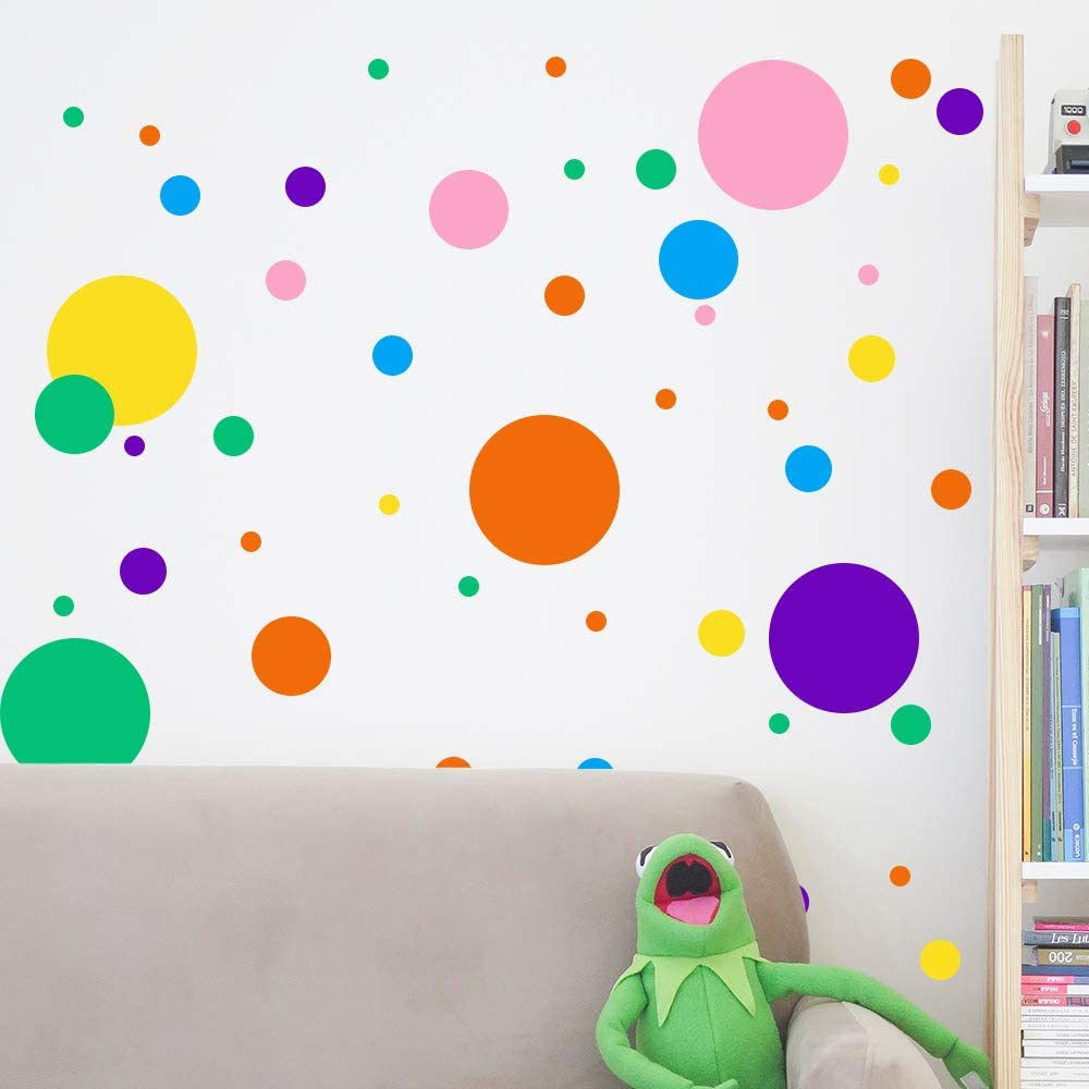 Senbos Polka Dots Wall Decals, 6PCS 192 Decals, Primary Colors Dry Erase Vinyl Dots Peel Stick Wall Decal for Nursery Room and Classroom (Multi-Size Dot Circle)