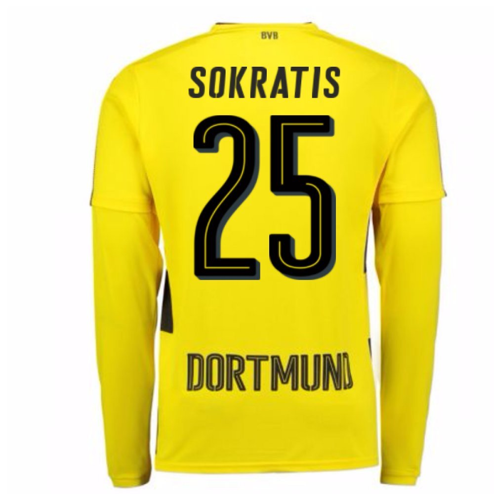 2017-18 Borussia Dortmund Long Sleeve Home Shirt (Sokratis 25) B0785K1GM6Yellow XL Adults