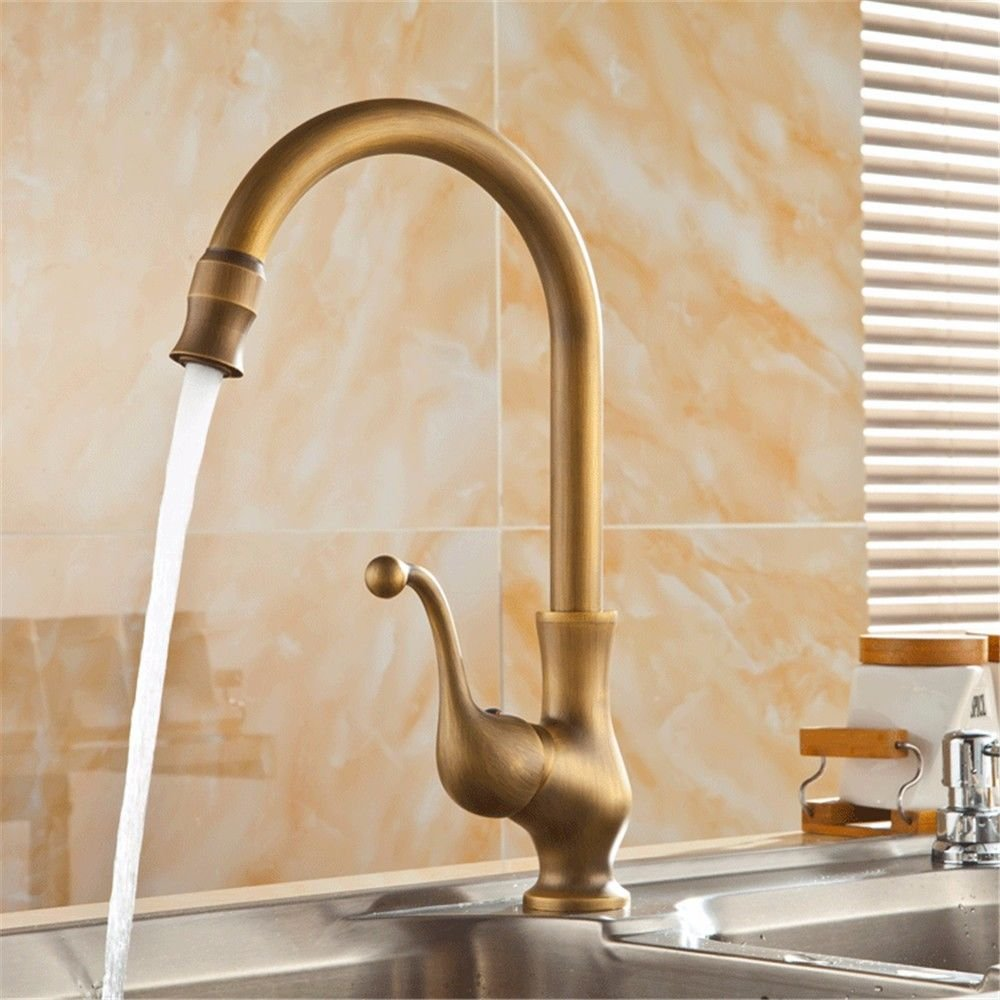 AQMMi Bathroom Sink Faucet Basin Mixer Tap Antique Hot and Cold Water Single Hole Single Lever Basin Sink Tap Bathroom Bar Faucet