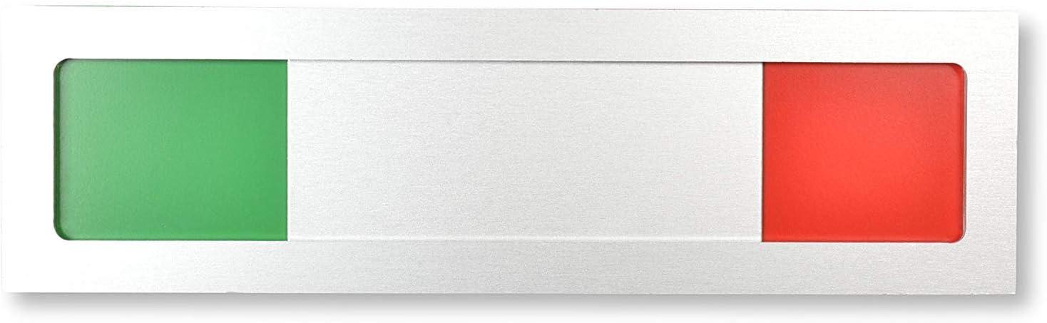 10 cm x 2,8 cm x 4 mm Plaque de r/éunion Plaque coulissante avec indicateur vert rouge 3 Frei Plaque murale universelle en aluminium avec curseur Adh/ésif 3M fort