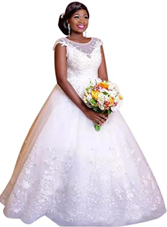 137408917cea Andybridal Ball Gown White Princess Lace With Sleeves Bridal Gowns Wedding  Dress at Amazon Women's Clothing store: