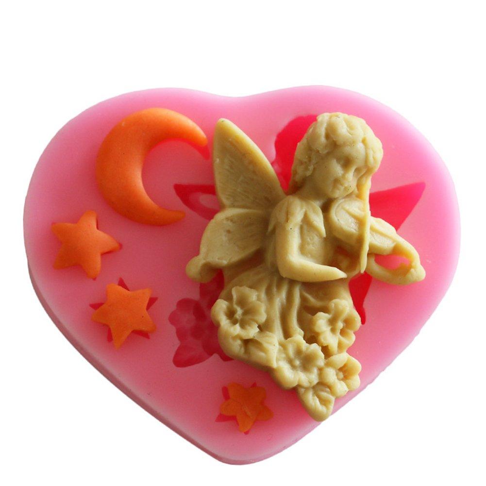 Hosaire Little Angel Cupid Stars Moon Silicone Mold Cake Fondant Bakeware Tool