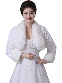 d7f7aeb19 Oncefirst Women's Winter Faux Fur Wedding Jacket for Bride Wrap Shawl  Bolero Jacket