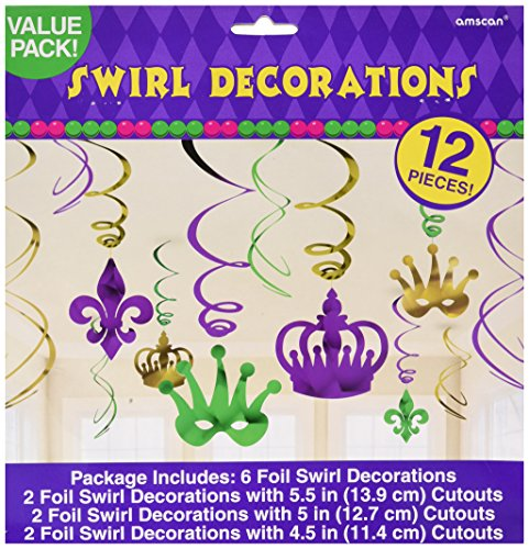 Amscan Vibrant Mardi Gras Crown & Mask Swirl Ceiling Decorating Kit Foil Pack 12 Childrens Party (144 Piece)