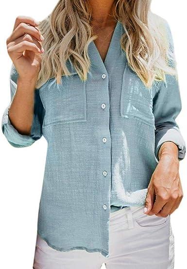 Camisa De Lino De Algodón Esencial Mujer para Camisa Casual ...