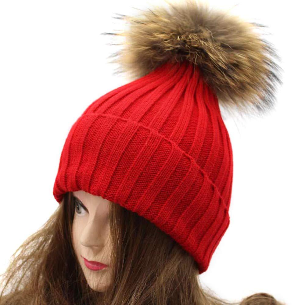 XOWRTE Unisex Women Men Winter Warm Crochet Fur Wool Knit Beanie Cap Hat on clearance