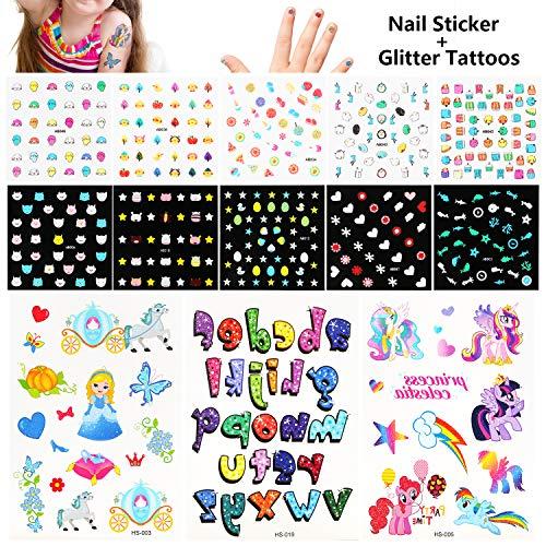 Phogary Kids Nail Art Stickers + Glitter Tattoos Set - 10 Sheets Cartoon Nail Decal Glow in The Dark + 3 Sheets Unicorn Pricess Glitter Temporary Tattoos, Best Birthday Present Idea for Kids]()