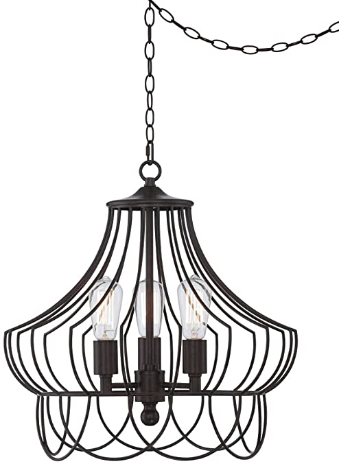 Hansel 19 12 wide bronze metal edison swag led chandelier hansel 19 12 wide bronze metal edison swag led chandelier amazon mozeypictures Gallery