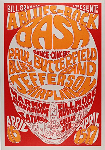 Paul Butterfield Blues Band 1966 Concert Poster, Fillmore, Auditorium, Harmon Gymnasium/UC BerkeleyMint Condition ()