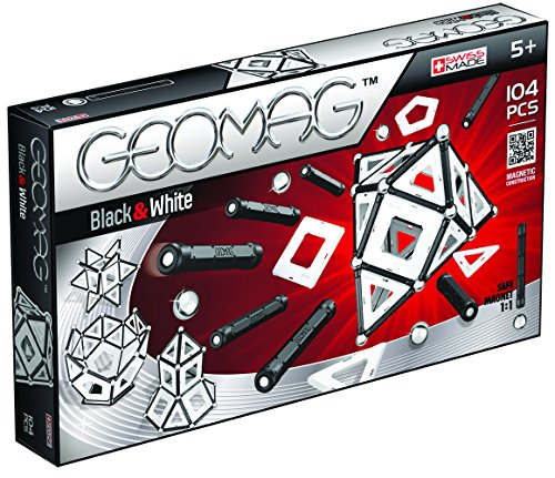 Geomag - BLACK AND WHITE - 104-Piece Magnetic Building Set, Certified STEM Construction Toy, Safe for Ages 5 and Up