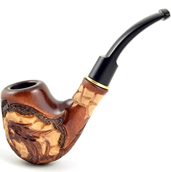 Carved tobacco smoking pipe *Dragon* (for 9mm filter)   pipes - 6 1''  (15,5cm)