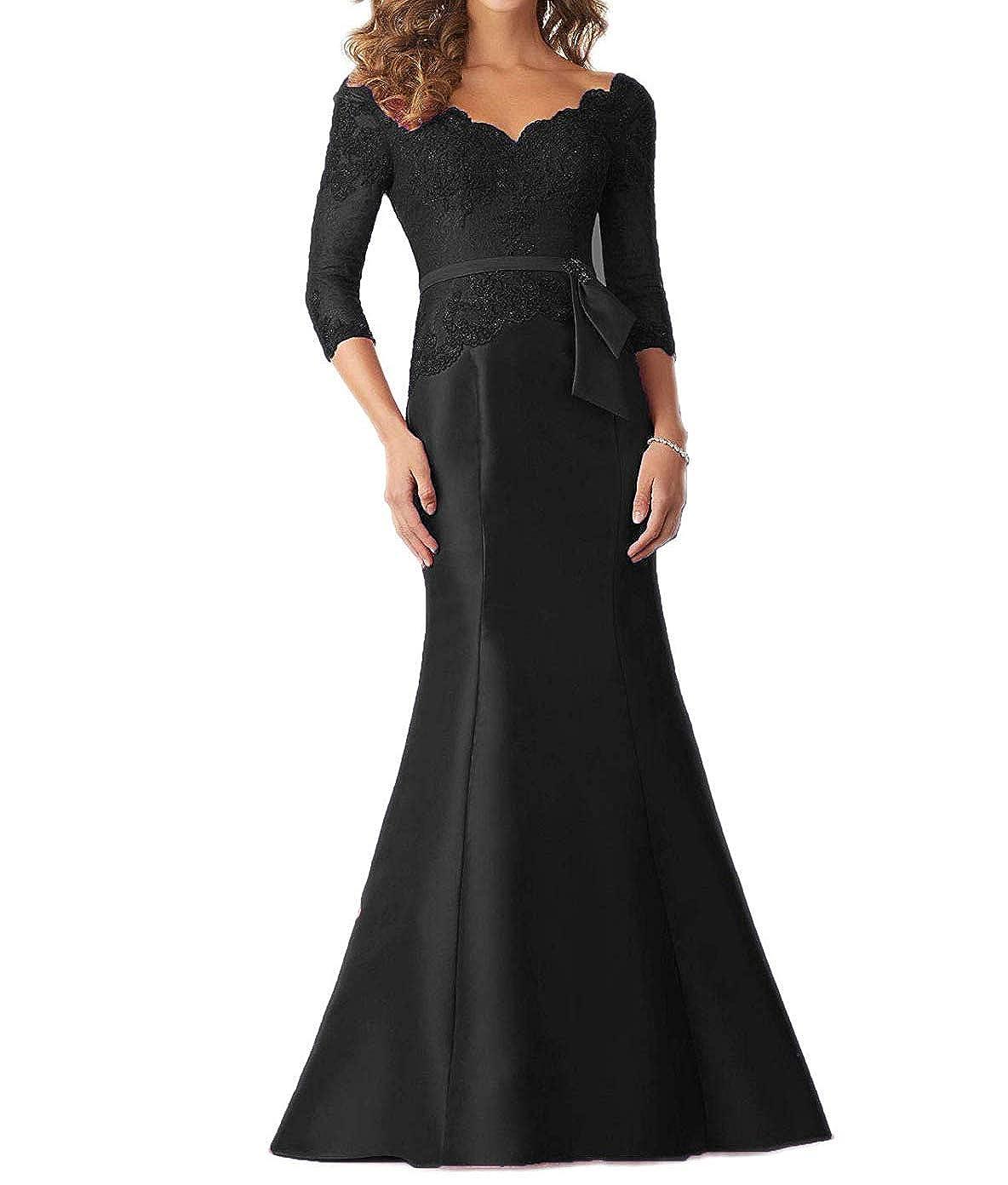 Black tutu.vivi Women's VNeck Lace Mermaid Evening Prom Dresses 3 4 Sleeves Appliques Long Formal Gown