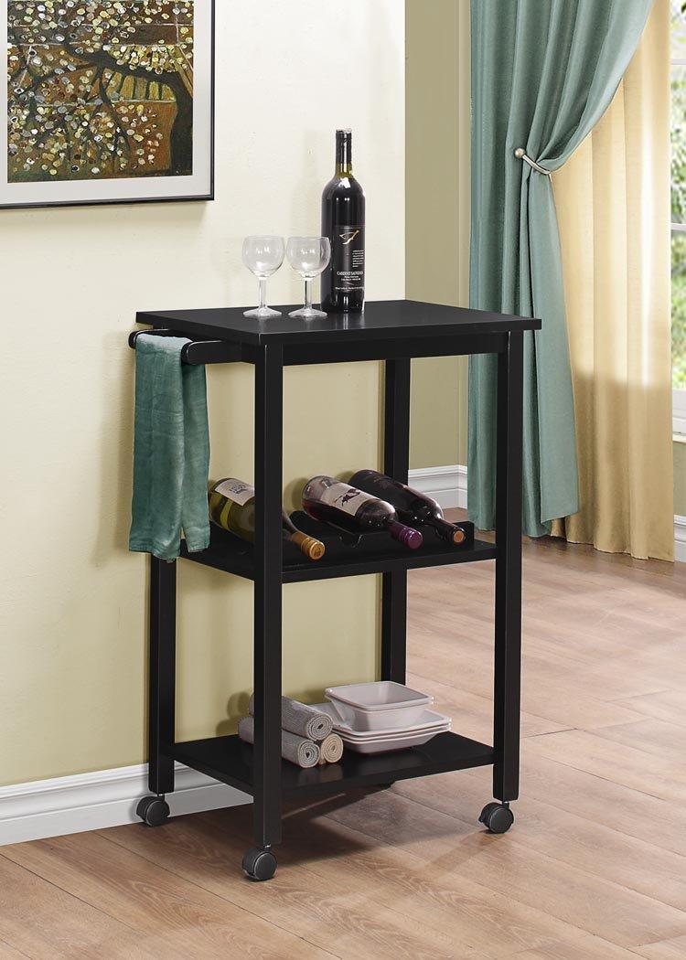Kings Brand Furniture Wood Kitchen Storage Serving Cart Wine Rack, Black