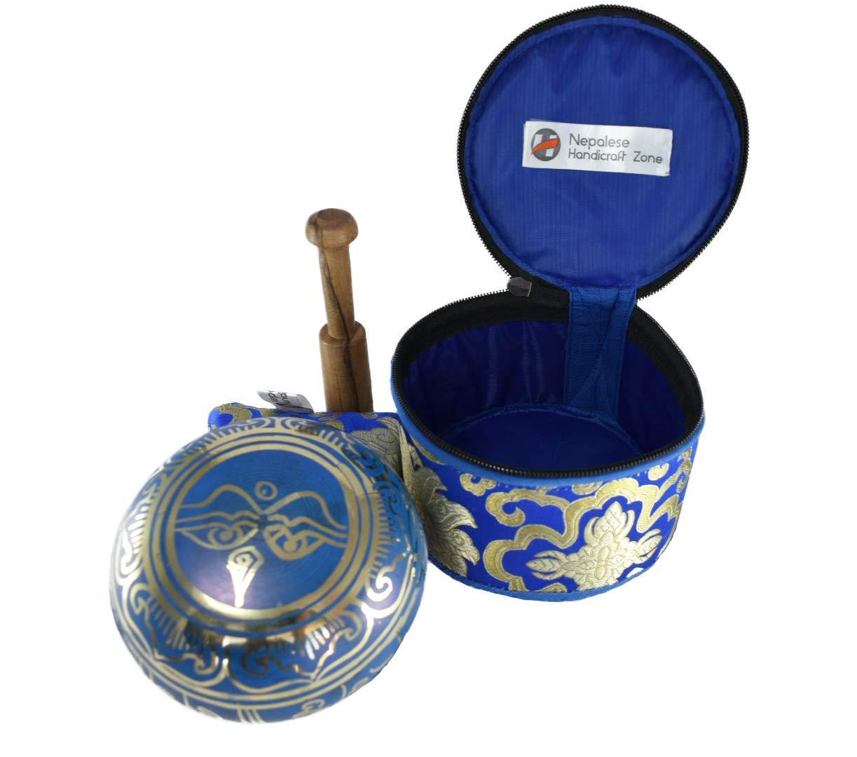 NHZ Singing Bowl Set with free stick and cushion Perfect Gift Set 4 Blue Set