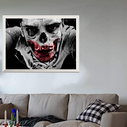 Feccile 2018 Halloween Party Decoration Adornment Lifelike Horror Zombie Wall Sticker Pvc Mural Window Door Home