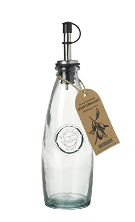 Tamaño mediano Mediterraneo 100% vidrio reciclado aceite/vinagre botella con boquilla (300 ml