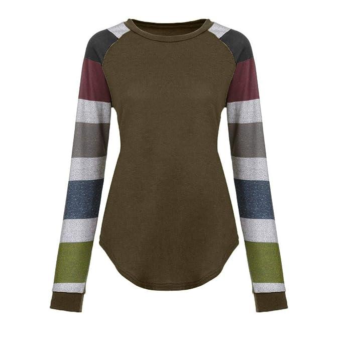 Fashion Women Long Sleeve Shirt Casual Stripe Blouse Loose Tops T-shirt