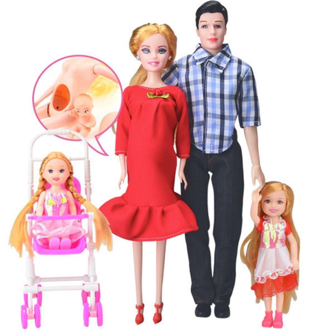 HKFV Kleid echte schwangere Puppe Mama & Papa & Tochter Familie Spielzeug Set fü r Schwangerschaft Puppe Satz von 6 Sä tzen von fü nf blau Pregnant Doll (Rot) HKFV-3663
