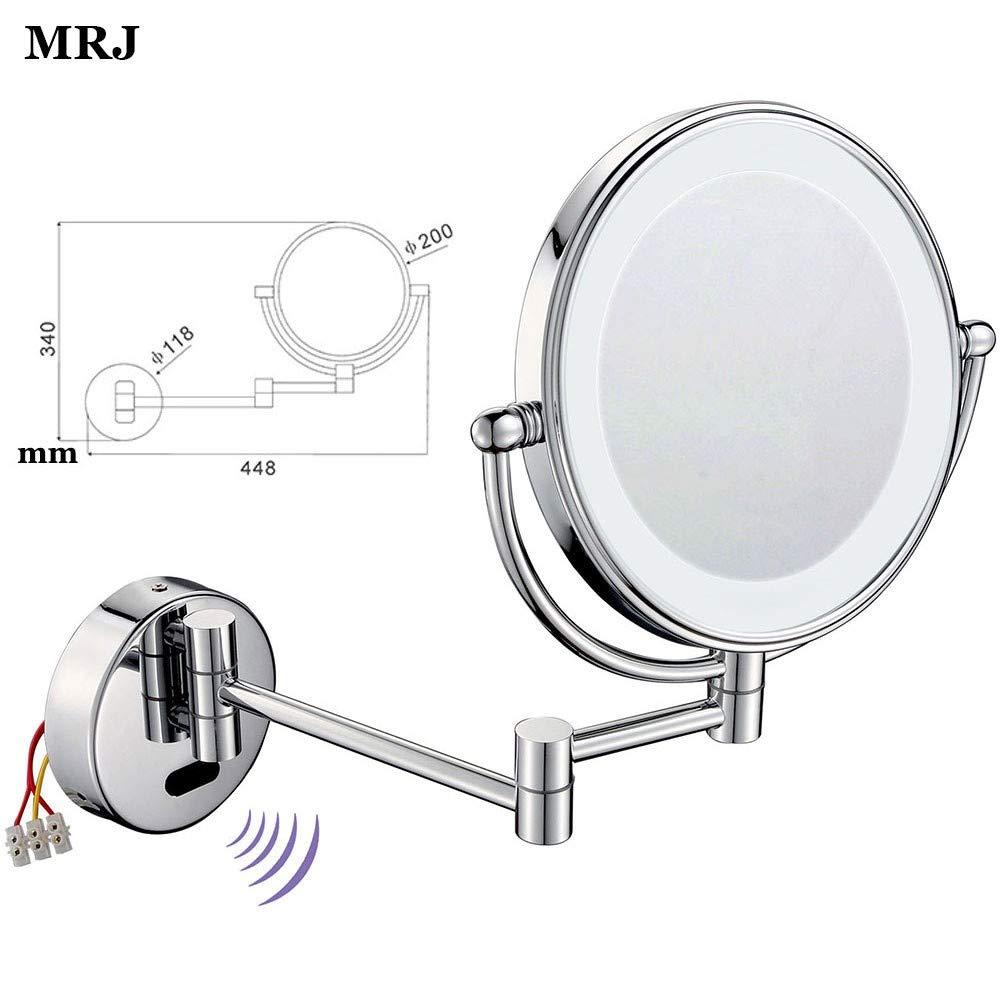 MRJ Specchietti da Trucco a Parete Illuminato con sensore Cromato in Metallo Ingranditori 3//5X Girevole Orizzontali a 360 /° e Verticali Specchio Ingranditore con Luce LED