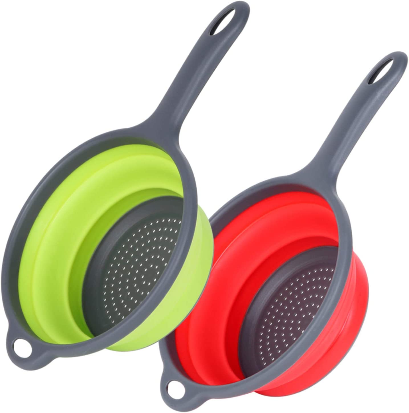 Collapsible Colander, McoMce Food-Grade Silicone Colanders, Round Kitchen Colapsable Collander with Handle, 2PCS Folding Strainer Set Perfect for Draining Pasta, Vegetable ( Green & Red )